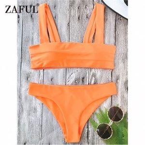 Zaful orange sunset bikini top !!
